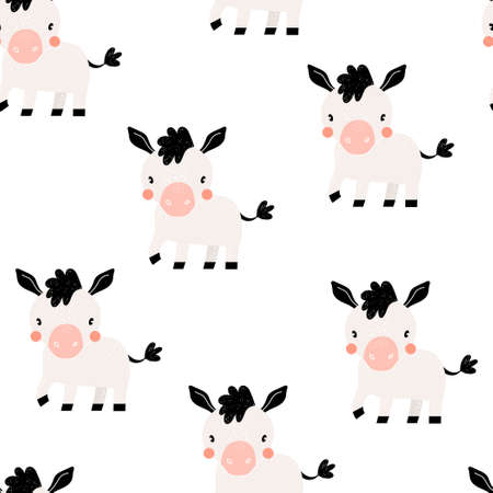 Vector hand-drawn color seamless repeating childish simple pattern with cute donkeys in Scandinavian style on a white background. Trendy scandinavian vector background. Cute animals. Farm.