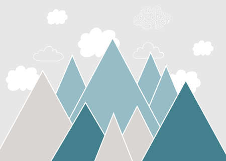 Vector color children hand drawn doodle mountain illustration in scandinavian style. Mountain landscape, clouds. Childrens wallpaper. Mountainscape, childrens room design, wall decor.