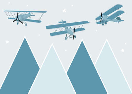 Vector color children hand drawn mountain, aircraft, plane and clouds illustration in scandinavian style. Mountain landscape. Childrens wallpaper. Mountainscape, childrens room design, wall decor.