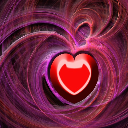 abstractly: Abstract background illustration - red foggy waves forms a heart