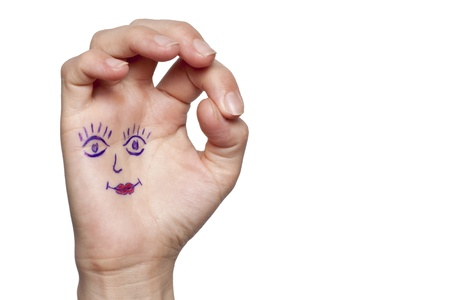 Female hand with painted eyes and lips photo
