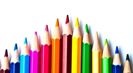 a bunch of colored pencils on a light background Stock Photo - 13176032