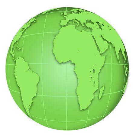 green Globe isolated on white background photo
