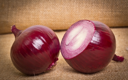specificity: onion on sacking background Stock Photo