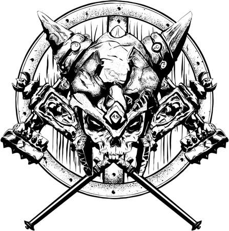 battle evil: designs depicting the skull orc had two guns in the rear, a shield, and a helmet on his head, has the theme of adventure and pleasure. Illustration