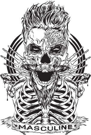 designs depicting the skull cool hair, a beard and a mustache, looks manly, entitled masculine man, has a happy theme.