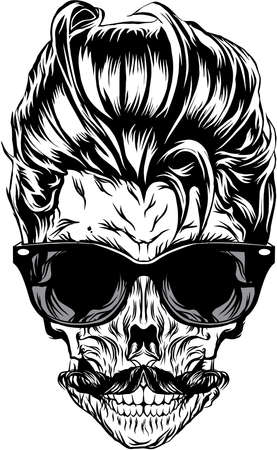 Hipster skull with sunglasses, hipster hair and mustache Illusztráció