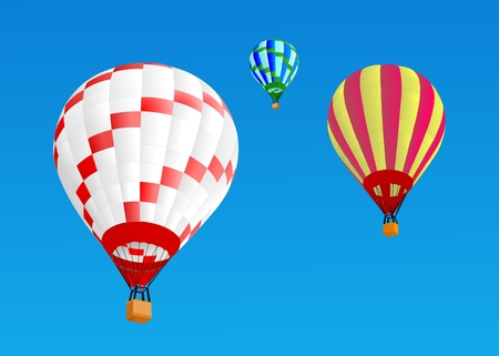 hot air ballons fly in sky, vector illustration