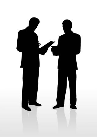 2 businessman reads document,   illustration