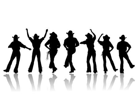 country music: Cowboy uomo e ragazza ballerino silhouette, illustrazione Vettoriali