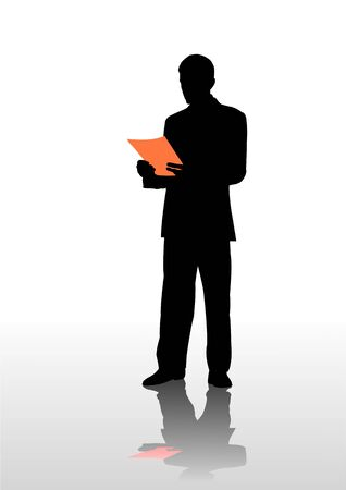 businessman read document,   illustration Illustration