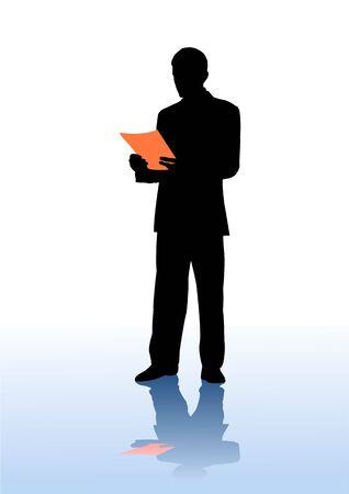 businessman reads document,  illustration