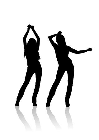 2  girl dancer silhouette Stock Vector - 6732340