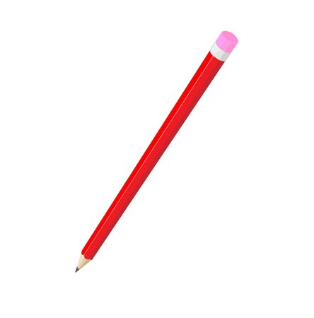 red pencil isolated, illustration