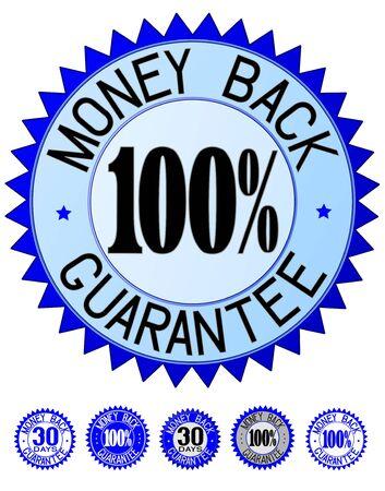 blue money back guarantee print set, illustration