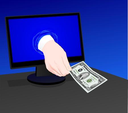E-commerce:The hand from the computer gives money,  illustration