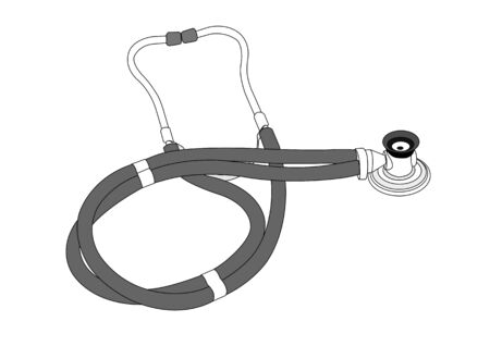 auscultation: stethoscope black&amp, white picture, illustration Illustration