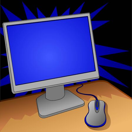 computer: monitor and mouse on work place, illustration Illustration