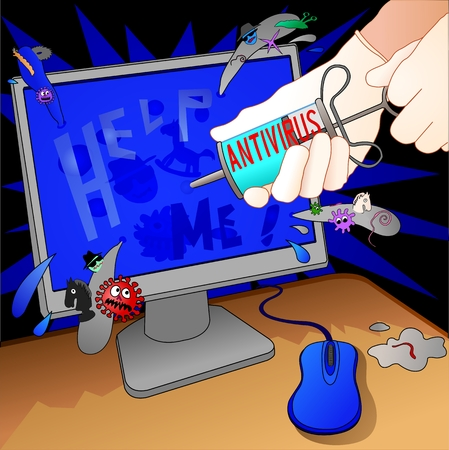 antivirus treatment infected computer, illustration Vector