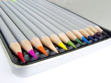 Color pencil set in pencilbox , image, macro