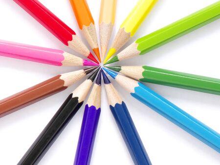 12 Color pencil set sun , image, macro