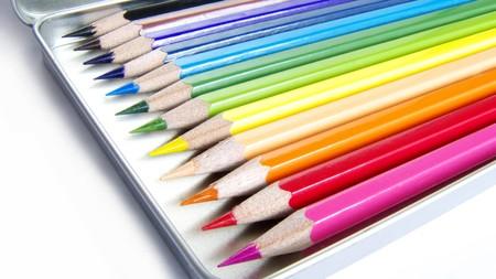 12 Color pencils in pencilbox, image, macro Stock Photo