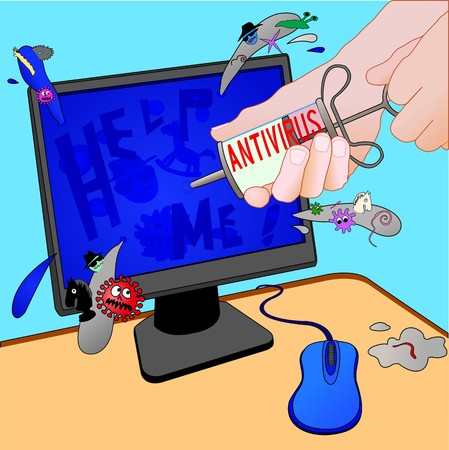 illustration infected: Antivirus  treatment of computer