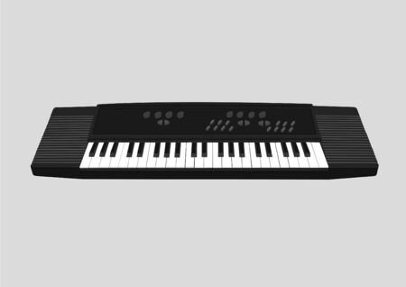 electronic keyboard, isolated, black and white illustration
