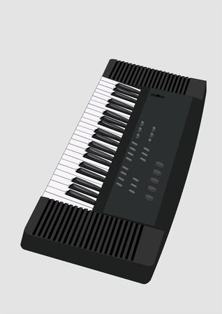 electronic keyboard, isolated,black and white illustration Vector