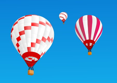 3 hot air ballons fly in blue sky