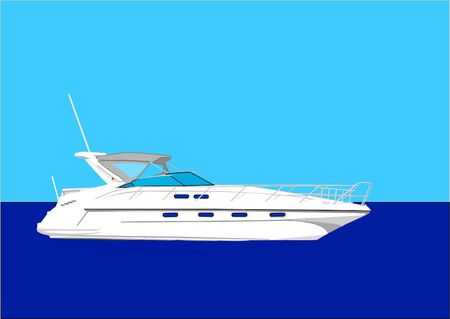 white yacht on the sea Illustration