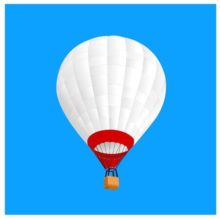 white hot air ballon fly in blue sky Illustration