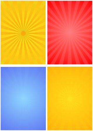 4 sun background set for design Stock Photo