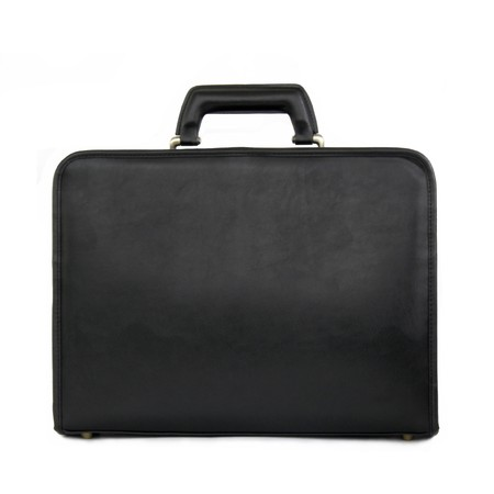 Black leather briefcase isolated on white, image