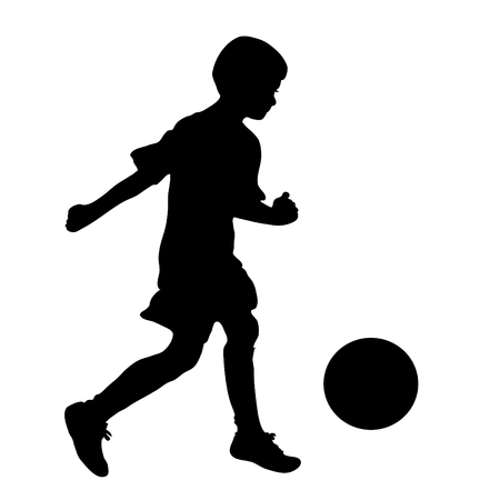 little boy football player silhouette, vector illustration Illustration