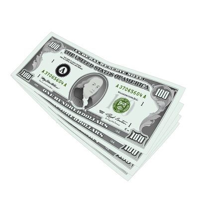 sucsess: money, 100 dollar notes over white, vector illustration Illustration