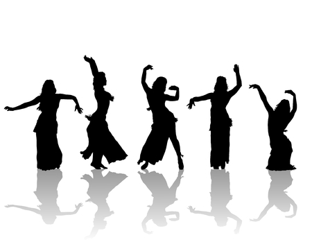east woman dancers silhouette  Illustration