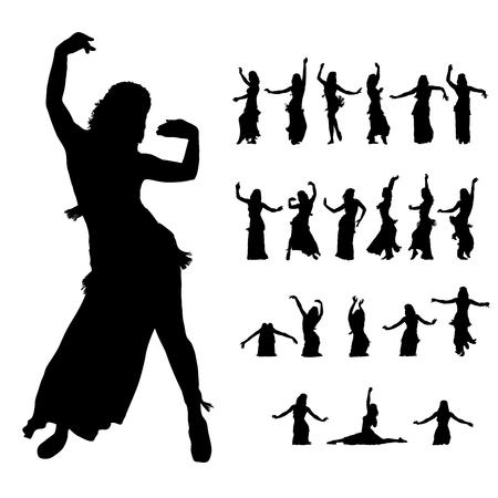 oriente: silueta de bailarines de mujer de este