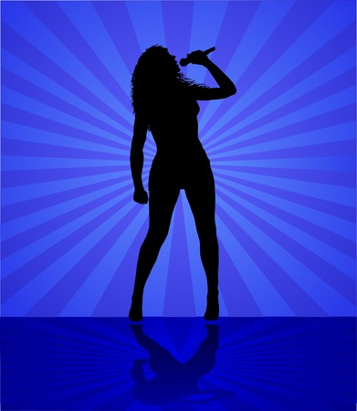 woman singer on the blue