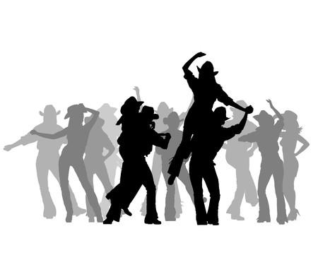 country music: Cowboy ballerino sagoma  Vettoriali