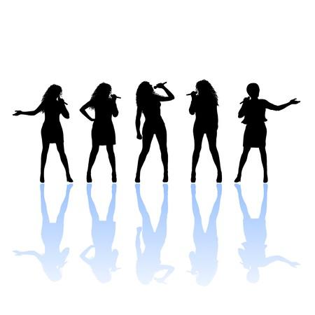 s�ngerin: Silhouette der Frau-S�nger  Illustration