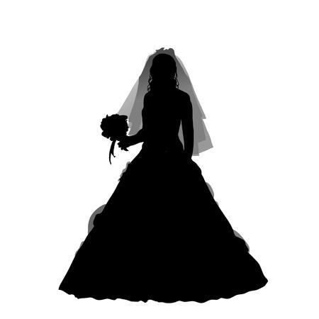 bride silhouette on the white background, vector illustration Illustration