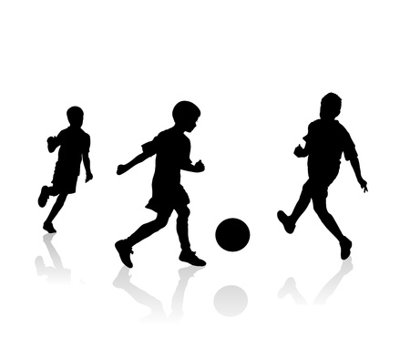 little soccer players silhouette, vector illustration