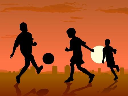 boys play soccer on sunset, vector illustration