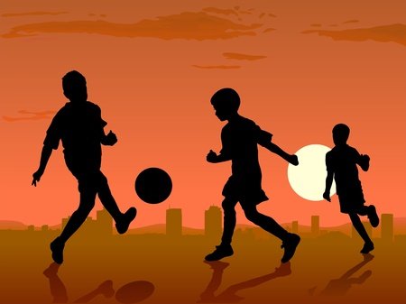 boys play soccer on sunset, vector illustration