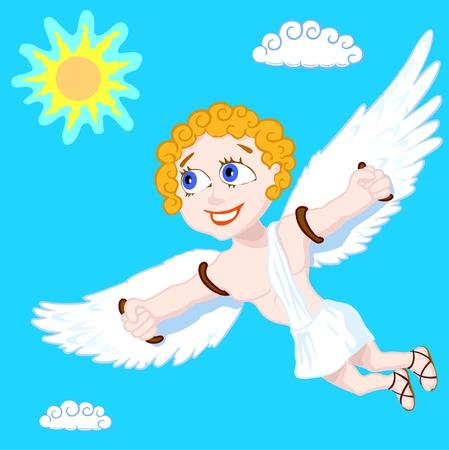 Happy young man (Ikar) flies having spread wings, vector illustration Vector