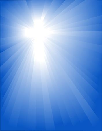 raggi di luce: Croce nel blu per il design, illustrazione vettoriale