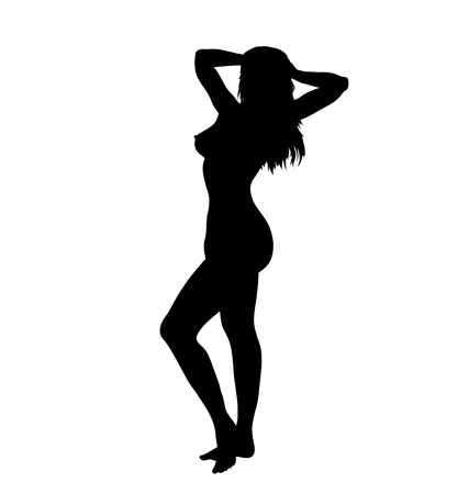 Sexy woman silhouette on the white background, vector illustration