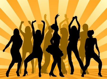 woman dancers silhouettes on the yellow background, vector illustration