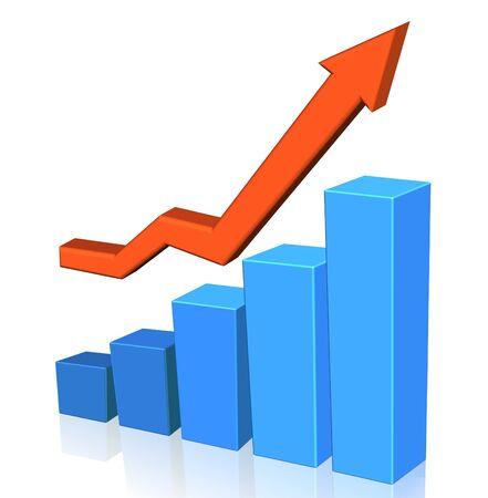 grafica de barras: Diagrama de azul y flecha roja sobre el fondo blanco, ilustraci�n
